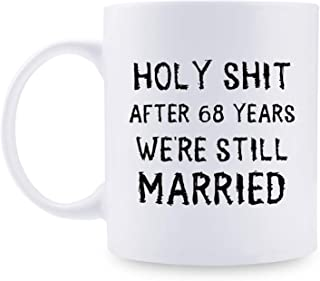 68th Anniversary Gifts - 68th Wedding Anniversary Gifts for Couple, 68 Year Anniversary Gifts 11oz Funny Coffee Mug for Couples, Husband, Hubby, Wife, Wifey, Her, Him, holy shit