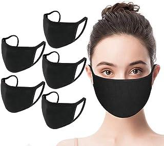 (SET 5 pcs) ||| Fashion Protective Face_Masks_Covering, Washable, Reusable, Unisex Black Dust Cotton Mouth Face_Mask (Black)