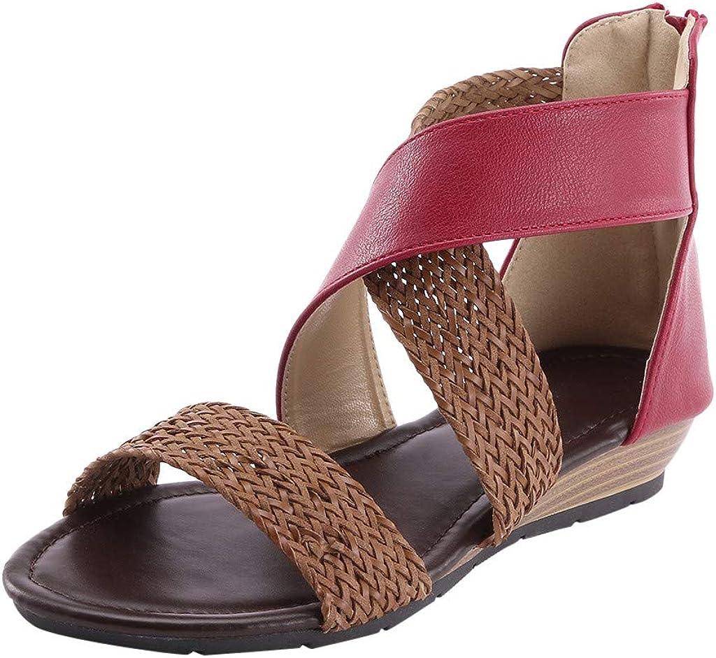 Women Weave Inventory cleanup selling sale Wedge Heel Shoes Regular dealer Beach Zipper Casual Sandals