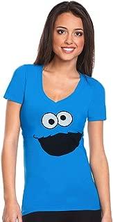 Cookie Monster Face V-Neck Junior Women's T-Shirt