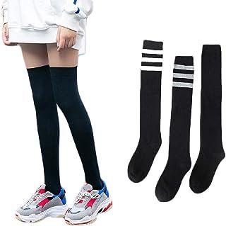 SIMYJOY, 3 pares de calcetines hasta la rodilla mujeres niñas sobre la rodilla muslo estilo japonés a rayas muslo botas altas medias de algodón calcetines altos calentadores de piernas Cosplay colegiala