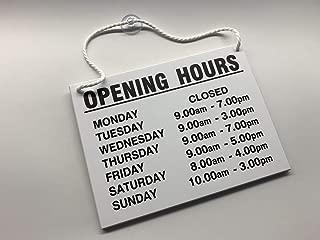 Cartel con horarios de apertura, para colgar