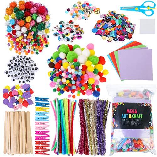 1200 Pcs Kit de Manualidades para Niños,Pipe Cleaners Crafts Set,Pompones Ojos Manualidades,Juego...