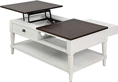 interjunzhan Mesa de centro com gaveta oculta de madeira de pinheiro ajustável e prateleira de armazenamento para casa, escri
