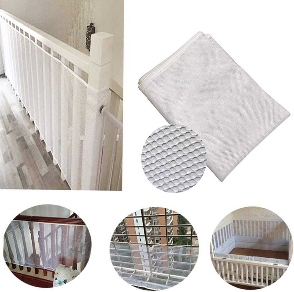 Child Safety Clear Balcony Safety Screen for Stairs, CuleedTec 10x2.5ft Protection Crib mesh Liner Bumper for Baby, Bannister Guards for Kids, Deck Shield Guard for Pets,SGS Passed