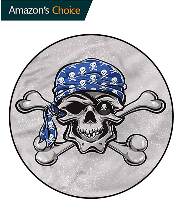 RUGSMAT Skull Modern Washable Round Bath Mat Pirate Evil Head Bones Living Dinning Room And Bedroom Rugs Diameter 59