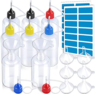50ml Precision Tip Applicator Bottles, LEOBRO 8 PCS Squeeze Glue Applicator Bottles with 8 Fine Needle Tips, for Acrylic Painting, Quilling, Alcohol Ink, Include 28 PCS Sticker, 8 PCS Mini Funnel