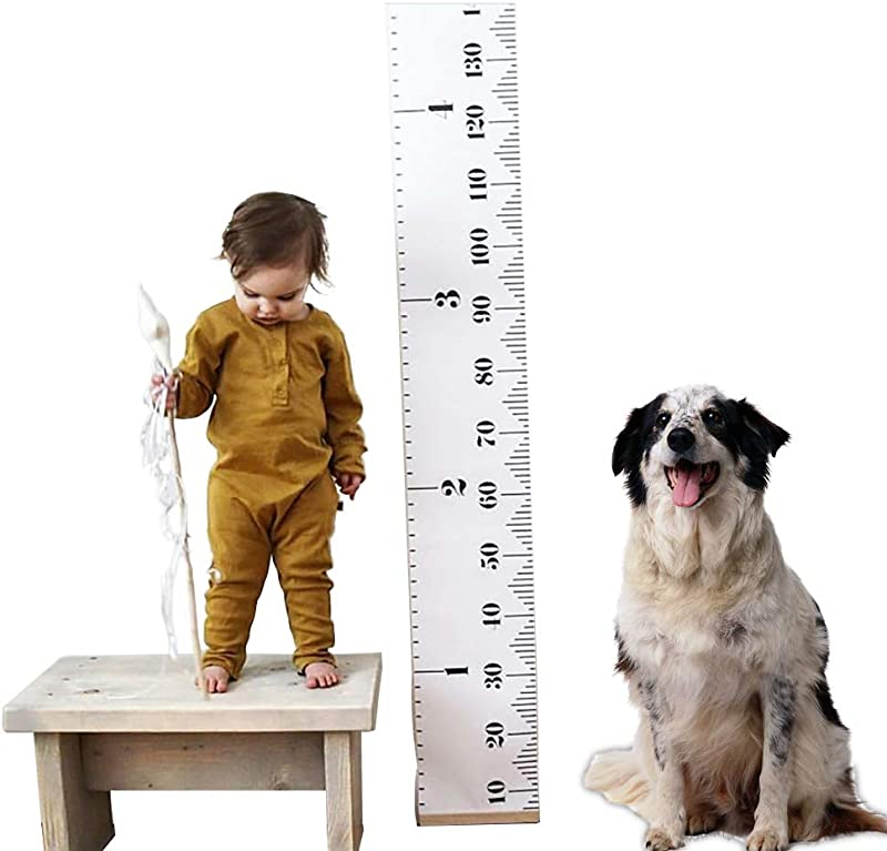Kids Baby Height Growth Chart Roll Up Wood Frame Fabric Hanging Ruler Children Nursery Room Wall Decor Baby Shower Gift 79 X7 9
