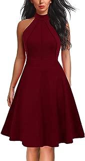 Women's Sleeveless Halter Neck A-Line Casual Party Dress