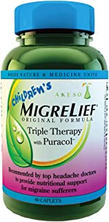 Children's MigreLief® - Triple Therapy with Puracol™ - Nutritional Support for Pediatric Migraine Sufferers - 60 Caplets/1...