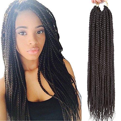 VRHOT 6Packs 18 inch Box Braids Crochet Hair Prelooped Synthetic Hair Extensions Twist Crochet Small 3S Box Braids Black Braiding Hair Long Dreadlocks for Women(18 inch, 2#)