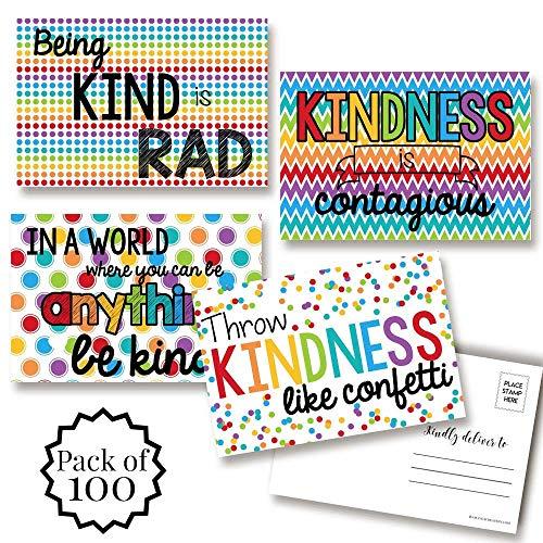 AmandaCreationの白地にキンドネスがテーマの空白ポストカード。友人や家族に送るためのカード100枚。4インチ×6インチの記入ノートカード(各デザイン25枚)。