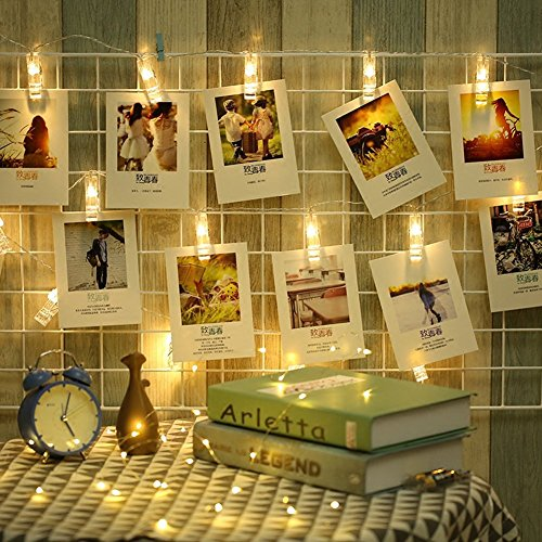 ELINKUME LED Mood Light Photo Clip String Light, 20 Photo Clips, 2.2 Meter/7.21 Feet, Warm White, Battery Powered, Perfect for Hanging Pictures, Notes, Artwork, Memos and etc