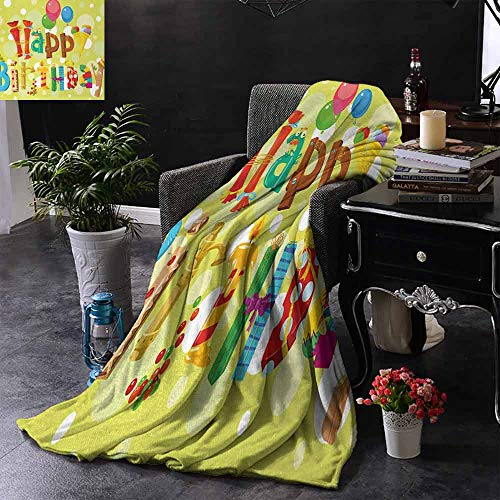 GGACEN Digital Printing Deken Gelukkige Verjaardag in Leuke vormen Grappige figuren met Ice Cream snoepjes en Ballonnen Warm Deken voor de herfst Winter