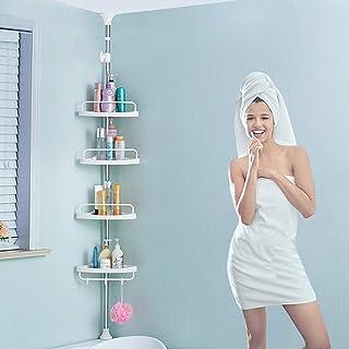 H-A テンションシャワーキャディポール バスルームコーナーシャワーラック 調節可能なバスルーム床から天井ストレージラックオーガナイザー ステンレススチールポール 防錆 ホワイト