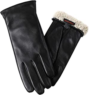 Super-soft Leather Winter Gloves for Women Full-Hand Touchscreen Warm 100% Cashmere Lined Perfect Appearance