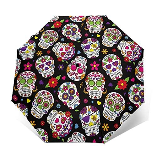 Paraguas Plegable para Golf, diseño de Calavera de azúcar, Resistente al Viento, Color Negro, con Cierre automático, Ligero y Resistente al Viento Cráneo de azúcar de Color Negro. Outer Print
