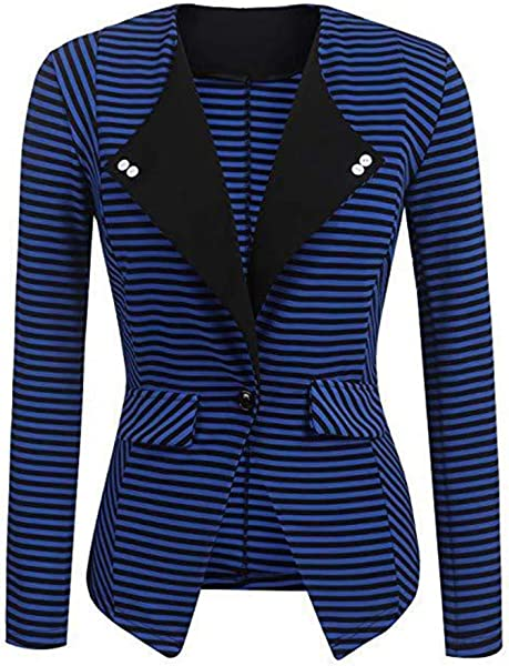 Women Long Sleeve Stripe Cardigan Elegant Slim Coat Blazer Jacket
