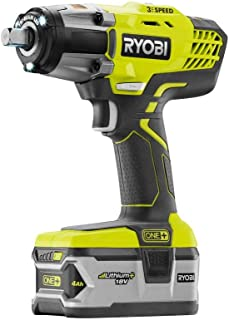 Ryobi P1833 3-Speed 1/2-Inch Impact Wrench Kit