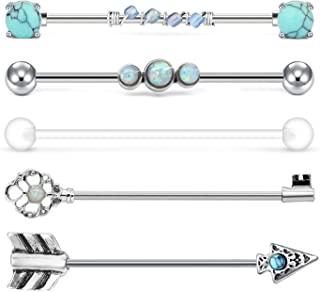 QWALIT Industrial Barbell 14G Cartilage Earrings Surgical Stainless Steel Arrow Opal Scaffold Piercings Arrow Industrial P...