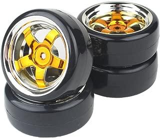 Shaluoman Plating 5-Spoke Wheel Rims with Hard Plastic Tires for RC 1:10 Drift Car Gold