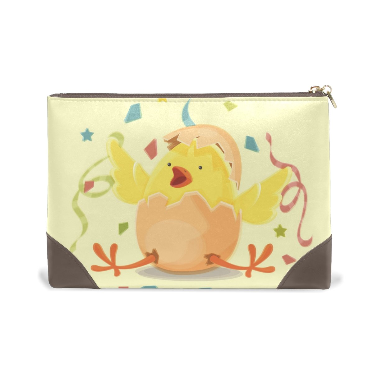 Women Makeup Bag Funny Chicken Latest item Genuine Zipper Cosmetics Free Shipping Cheap Bargain Gift Leather