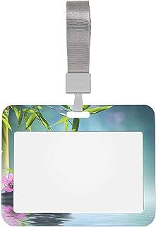 Porte-badge d'identification de travail Japon Japonais Fleur d'orchidée violette Bambou et protecteur de badge transparent...