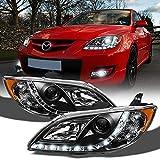 ACANII - For 2004-2008 Mazda 3 Sedan LED DRL Strip Black Housing Projector Headlights Headlamps, Driver & Passenger Side