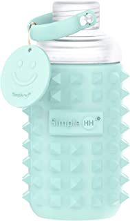 Simple HH Premium Glass Water Bottle with Spiked Silicone Sleeve for Travel, Narrow Mouth, BPA-Free & Dishwasher Safe | 16oz (Tiffany Blue)