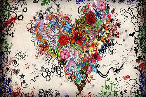 zhangshifa Puzzles 1000 Pieces,Corazón Compuesto De Coloridas Flores De Mariposas Rompecabezas De Naturales,Juego De Jigsaws Puzzles para Niños Adultos-75 * 50Cm(Puzzle De Pintura)
