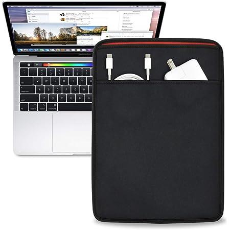 MacBook Pro 13インチ(2016/17/18/19/20) Air 13インチ(2018/19/20) 用 JustFit スリーブケース (ブラック/レッド) ACアダプタ 充電ケーブルが収納可能な前面ポケット付 専用設計だからジャストフィット MB13PJFSCBB