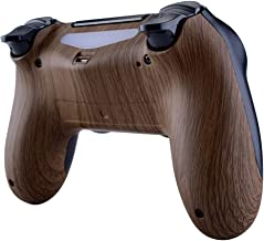 eXtremeRate Wood Grain Bottom Shell, Soft Touch Back Housing Case Cover, Game Improvement Replacement Parts for Playstation 4 PS4 Slim Pro Controller JDM-040, JDM-050 and JDM-055