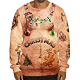 Batnott Herren Weihnachtspullover Ugly Christmas Shirt Männer Lustig Sexy Weihnachten 3D Print Langarm Tasche Sweatshirt Pullover Winter Sweatshirt Xmas Party Hemd Oversize...