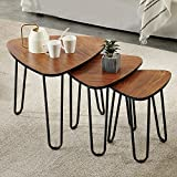 VECELO 3-Piece Nesting Side Coffee Stacking End Tables for Living Room, Brown