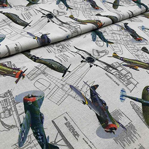 Kt KILOtela Tela de loneta culla Estampada Digital - 100% algodón - Retal de 100 cm Largo x 140 cm Ancho | Aviones y Planos - Beige, Azul, Verde, Naranja ─ 1 Metro