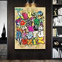 """ストリートグラフィティアートポップキャンバス絵画ポスターとプリントウォールアート写真バンクシーリビングルームホームキッズオフィスDecor19.6"""" x31.4""""(50x80cm)フレームなし"""