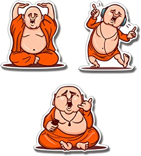 Presta Gifts Cute Laughing Buddha MDF Wood Fridge Magnet (3x2 inches, Multicolor) - Set of 3 Designs