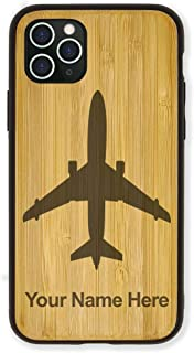 Case Compatible with iPhone 11 Pro Max, Jet Airplane, Personalized Engraving Included (Bamboo)