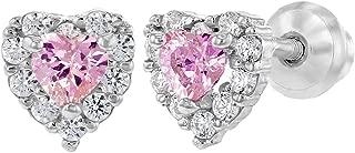 925 Sterling Silver Clear CZ Heart Screw Back Baby Girl Earrings Infants