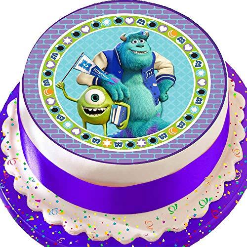 Cannellio Cakes vorgeschnittenen Essbarer Zuckerguss großen Kuchen Topper–19,1cm rund Monster Inc Sully und Mikey MACAPAGAL