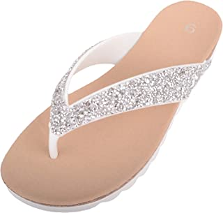 ABSOLUTE FOOTWEAR Womens Slip On Summer/Holiday Jewel Encrusted Flip Flops/Sandals/Shoes