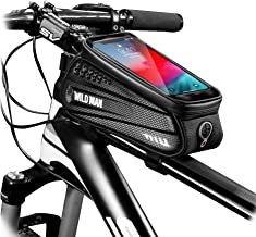 WILD MAN Bike Bicycle Bag, Waterproof Bike Phone Mount Bag Front Frame Top Tube Handlebar Bag with Touch Screen Holder Cas...