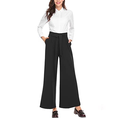6fb4032c039 SE MIU Women s Stripe Flowy Wide Leg High Waist Belted Casual Pants