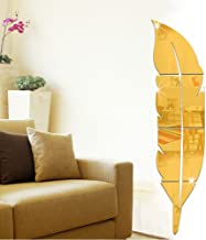 Mirror Wall Stickers,Uotmiki Removable Feather Art DIY Mirror Wall Decal Home Room Decoration (Gold, 73X18cm)