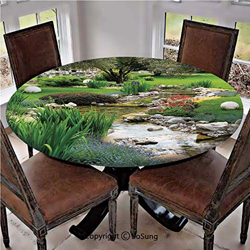 """Elastic Edged Polyester Fitted Table Cover,Garden and Pond in Asian Flowing Stream Wild Flowers Bushes Stones Landscape,Fits up 40""""-44"""" Diameter Tables,The Ultimate Protection for Your Table,"""