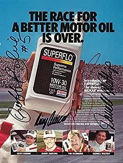 4X AUTOGRAPHED Tim Richmond - Darrell Waltrip - Benny Parsons - Geoff Bodine SUPERFLO MOTOR OIL (Winston Cup Series) 9X11 Inch NASCAR Vintage Magazine Page with COA