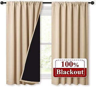 NICETOWN Bedroom Durable Full Blackout Curtain Panels, Great Job for Blocking Light, Rod Pocket Complete Blackout Draperie...