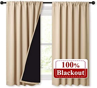 NICETOWN Bedroom Durable Full Blackout Curtain Panels, Great Job for Blocking Light, Rod Pocket Complete Blackout Draperies with Black Liner for Night Shift (Biscotti Beige, Set of 2, 52 by 54-inch)