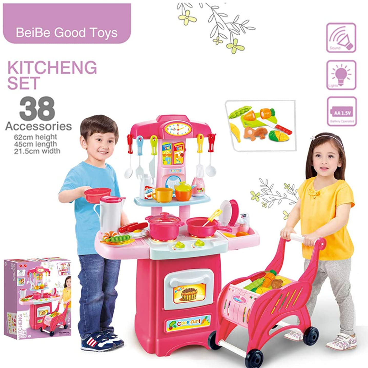US Fast Shipment &Clearance ??Tuscom Toys Electronic Kitchen Set and Shopping Cart Chess Set,21.65x5.11x15.35in for Boy Girl Kids Fun and Education Holiday Birthday Gift (Colorful)