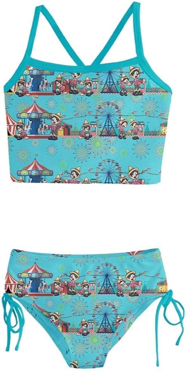 PattyCandy Girls Swimwear Cute Bulldog On Magic Cartoon Gnomes Daisy /& Fairies Fairytale Theme on Tankini Swimsuit